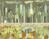 """A view of Central Park.  24""""x38"""" print by Matte Stephens."""