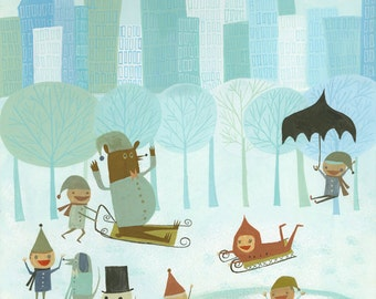 Winter in NYC.   Limited edition print by Matte Stephens.