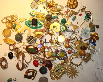 Assemblage jewelry vintage junk drawer findings semi precious stones metal odd lot