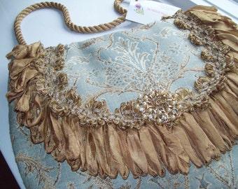 Light Blue and Gold Silk Polyester Tapestry large Handbag