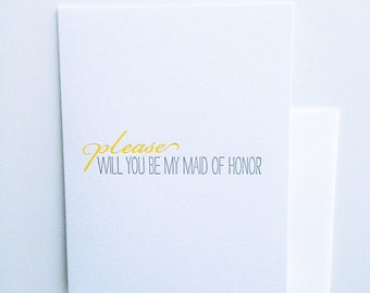 Will you be my maid of honor, letterpress card