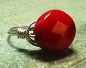 Faceted red coral ring