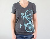 Women's top - Small - Vital bicycle - 50-50 tee, turquoise bike on charcoal gray