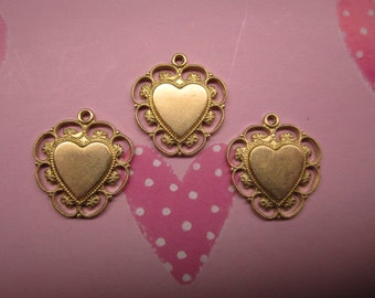 Heart Charms Scalloped Edge Lacy Brass Jewelry Supplies Crazy Quilt Mixed Media Art Collage x 3