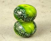 Handmade Glass Lampwork Bead Pair 11x7mm Mossy Glade