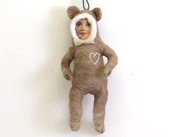 Spun Cotton Vintage Inspired Bear Boy with a Heart Ornament