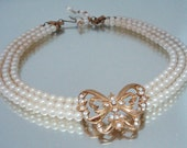 Faux Pearl Necklace Rhinestone Butterfly Vintage Jewelry