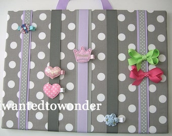 New LARGE HairBow Holder Fabric Board ..FREE SHIPPING...Grey Lavender White Dots Ribbon ... for hair bows clips barrettes and clippies