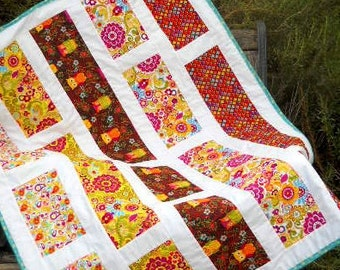 Owl See You in My Dreams - Contemporary Baby Quilt w/ Owls and Modern patterns in a rainbow of colors