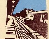 Blue Line letterpress linocut