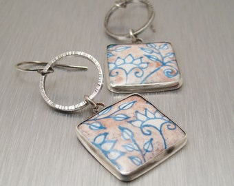 Enamel and Sterling Earrings - Sterling Silver Enamel Earrings - Lavender and Blue Flowers