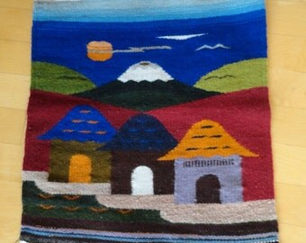 Small Vintage Wool Landscape Weaving of 3 Dwellings Mountain and Ocean 15 x 16