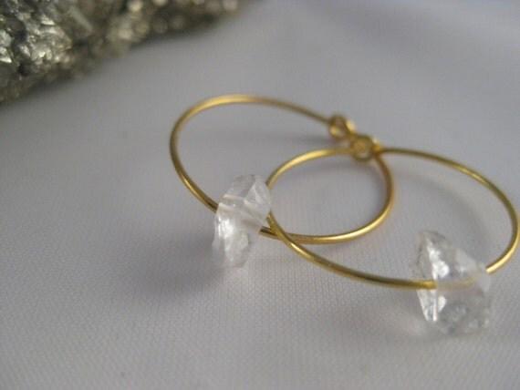 Herkimer Diamond Hoop Earrings - S