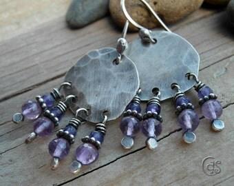 Amethyst Gemstone Earrings Beaded Earrings Handcrafted Silver