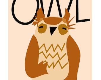 Nursery Decor Little owl 8 x 10 inch print