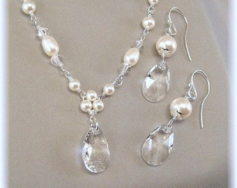 White Pearl and Crystal Necklace and Earring Set, Handwired Trinity Pearl Teardrop Necklace, Choice of White or Ivory Pearls