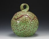 Spring Green Squiggle Jar Red Stoneware - dancingclay