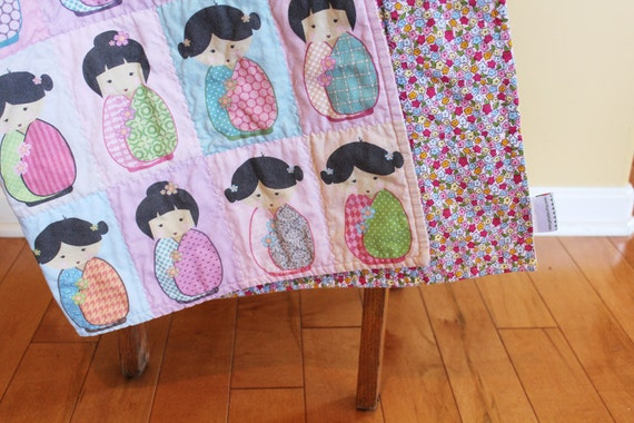 Kokeshi Doll Quilt By Petunias Japanese Doll Cute Pink Black
