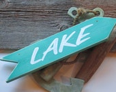 Light Teal Lake Sign, nautical rustic home office cabin cottage