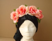 Peach Rose Headband Flower Crown Frida Kahlo Floral Hair Accessory Costume Day of the Dead