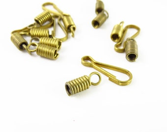 Brass Spring with Hook and Clasp - 25 sets - 0016