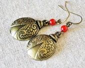 Antiqued Brass Ladybug Earrings Embossed Round Ladybug Antiqued Vintage Themed Charms with Small 4mm Red Shimmery Glass Pearls and Fishhooks