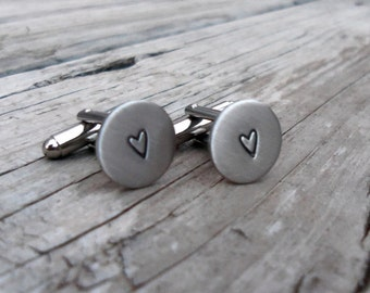 Rustic Heart Hand Stamped Cuff Links