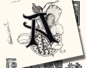 art nouveau letters a vintage printable digital collage sheet no 1017