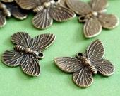 Sale 12pcs 20mm Butterfly Antique Bronze Pendants A1266