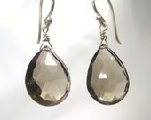 Dazzling Soft Grey Smokey Quartz Gemstone Dangle Christian Earrings - Sterling Silver - Door Post of the Heart Collection