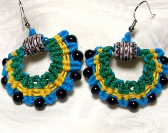 wild and funky  macrame hemp earrings