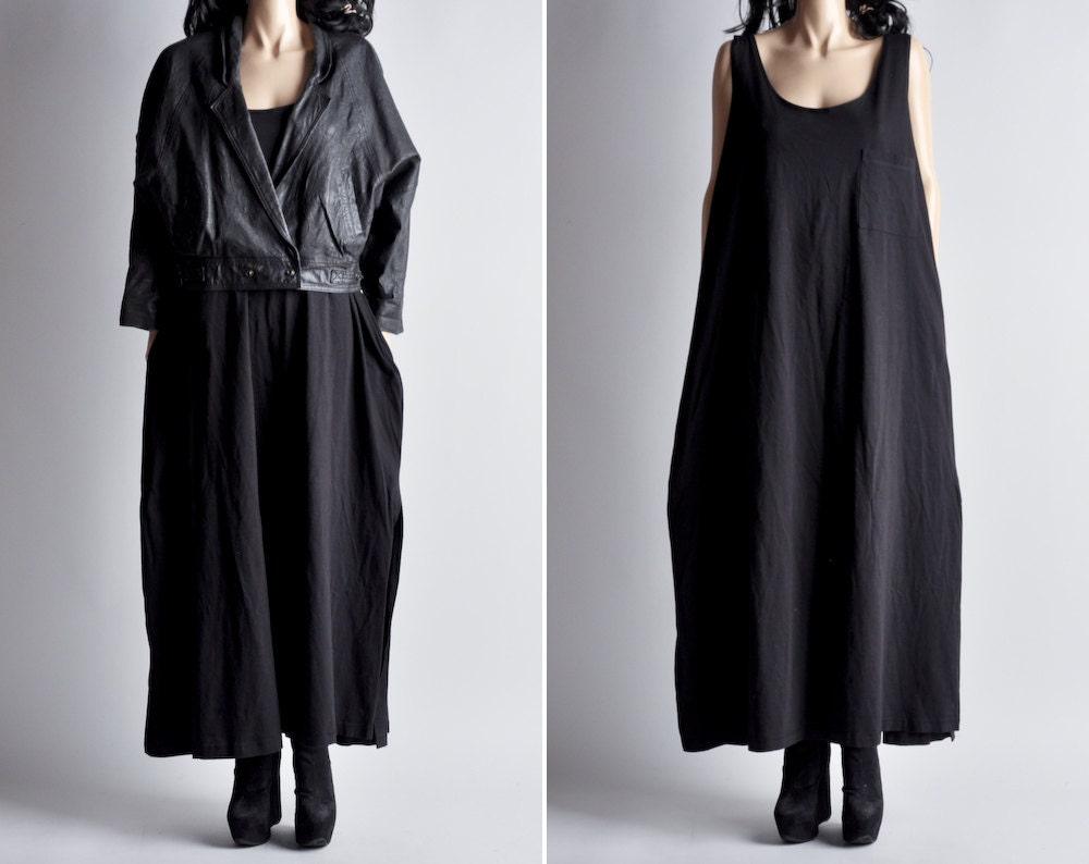 black minimalist oversized cotton sleeveless by