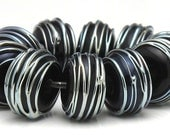 Handmade Lampwork Bead Set Black with Silver Trails SRA