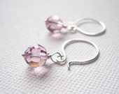 Light Amethyst Swarovski Crystal & Sterling Silver Earrings - UK Seller