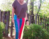 Additional 20% Off//Code NOV20//C L E A R A N C E/ flyTie Clothing Color Block Leggings 1 / Striped/ Colorful  Free US Shipping
