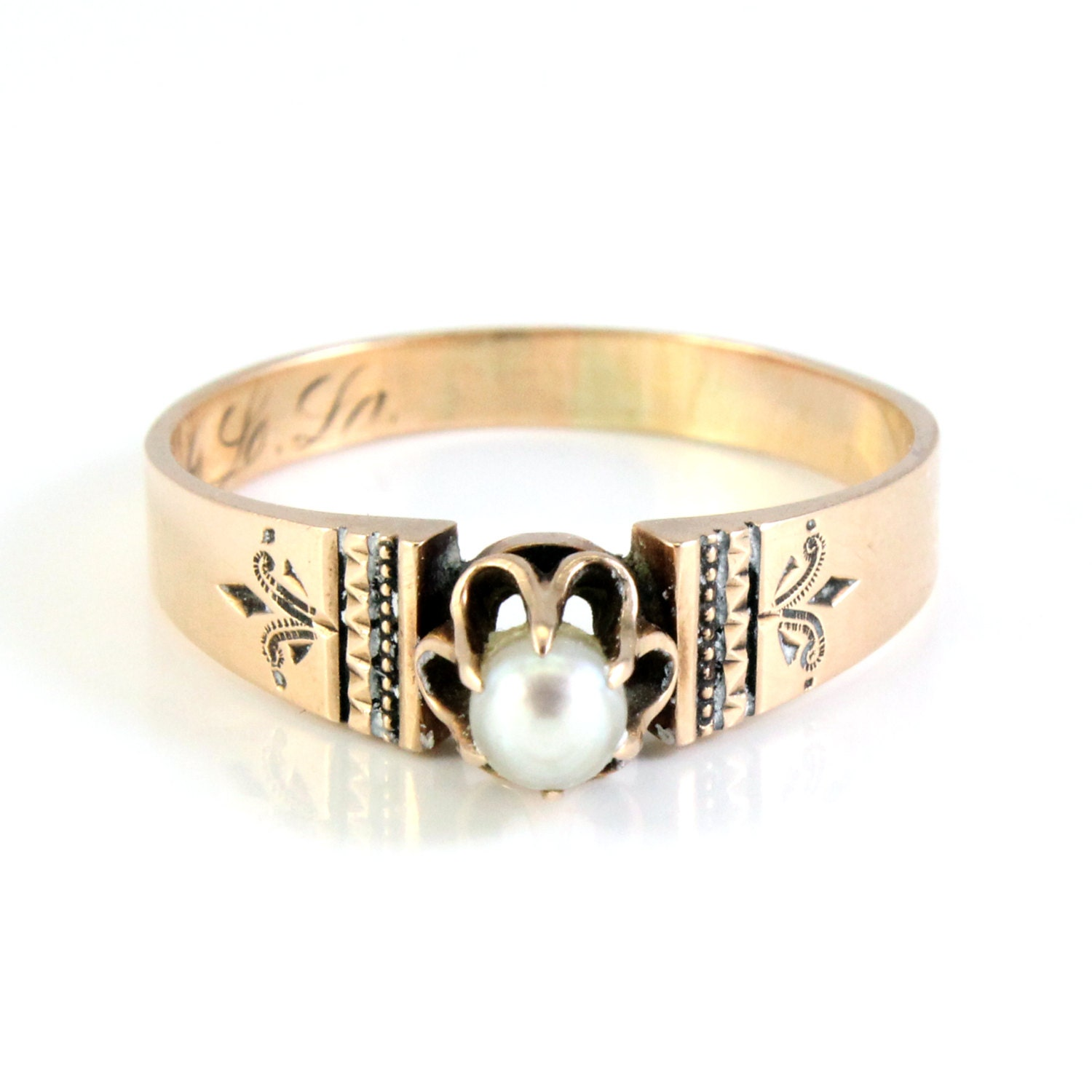 Antique Victorian Rose Gold Seed Pearl Wedding Ring