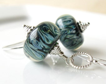 Amazon Boro Lampwork earrings in sterling silver
