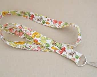 Summer fruit and veggies - handmade fabric lanyard