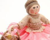 The Knitter Art Doll With Basket Of Yarn, Hand Embroidered