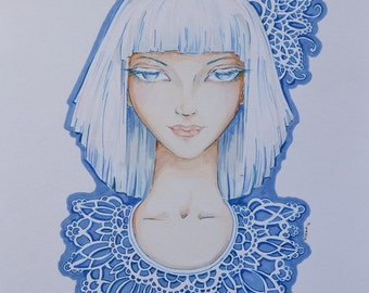 I LIKE BLUE - original traditional art