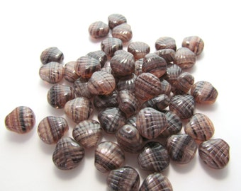 Earthy Brown, Cream and Black Striped Glass Seashell Beads - 50 pieces