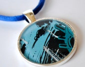 Comic Book Necklace - Blue Comic Jewelry - Geek Jewelry - Blue and Silver