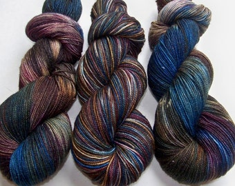 Hand Painted 2-Ply Superwash Merino Nylon and Sparkle Sock -- Doctor Who: Mad Man With a Box (Silver Sparkle)