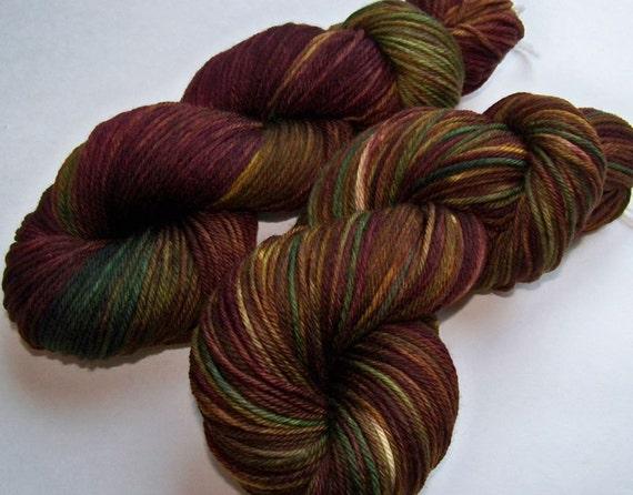 SPRING SALE 30 Percent Off -- Hand Painted Superwash Merino Worsted -- Winter Berry (Dark)