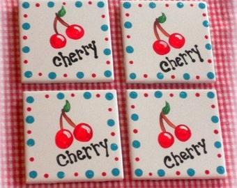 Hand Painted Cherries Ceramic Tile Coaster Set - Retro Cottage Kitchen Decor