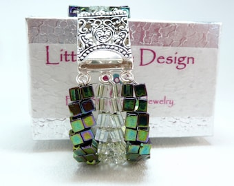 ON SALE - Emerald Frost Beadwoven Bracelet - Cubic Meter Collection
