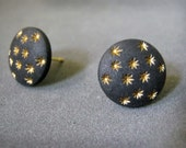 star stud earrings, starry night, gold and black, vintage earrings, studs, posts, plastic earrings,  button earrings, holiday gift, retro