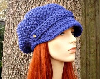 Crochet Hat Womens Hat Blue Newsboy Hat Slouchy Hat - Crochet Newsboy Hat Cobalt Blue Crochet Hat - Blue Hat Blue Beanie Womens Accessories