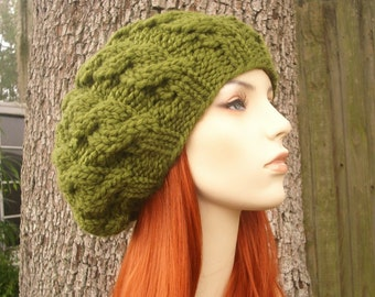 Olive Green Cable Beret Chunky Knit Hat Green Womens Hat - Olive Green Hat Green Beret Green Beanie Womens Accessories