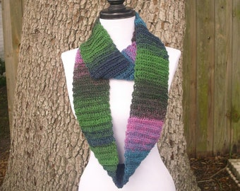 Circle Scarf Infinity Scarf Crocheted Cowl Scarf - Ribbed Infinity Cowl in Aura Pink Blue Green - Womens Accessories
